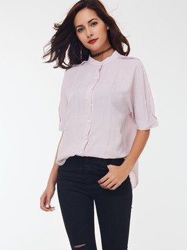 Ericdress Pink Half Sleeve Blouse