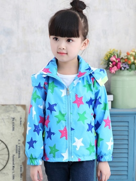 Ericdress Stars Print Hooded Girls Jacket