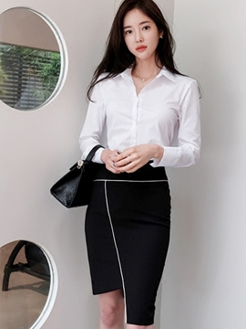 Ericdress Simple Asymmetric Skirt Suit