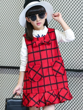 Ericdress Plaid Bow Pocket Girls Dress