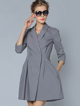 Ericdress Solid Color A-Line Pleated Trench Coat