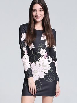 Ericdress Flower Print Long Sleeve Bodycon Dress
