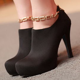 Ericdress Suede Metal Decorated High Heel Boots