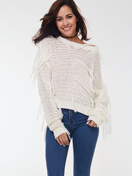 Ericdress White Tassel Loose Knitwear
