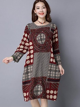 Ericdress Loose Print Round Neck Casual Dress