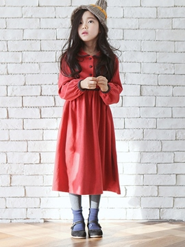 Ericdress Single-Breasted Doll Collar Plain Girls Dress