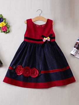 Ericdress Color Block Flower Girls Dress