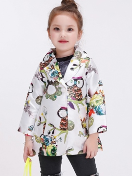 Ericdress Owl Printed Large Lapel Collar Girls Outerwear