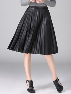 Ericdress Unique PU Pleated Skirt