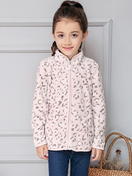 Ericdress Leopard Grain Hemming Zipper Girls Outerwear