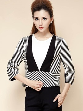 Ericdress Color Block V-Neck Stripped Blazer