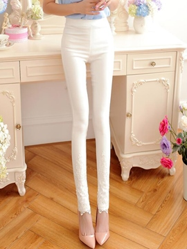 Ericdress Lace Appliques Leggings Pants