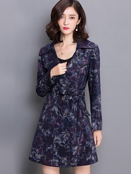 Ericdress Slim Printed Plus Size Trench Coat