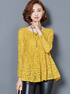 Ericdress Solid Color Slim Lace Wave Cut Blouse