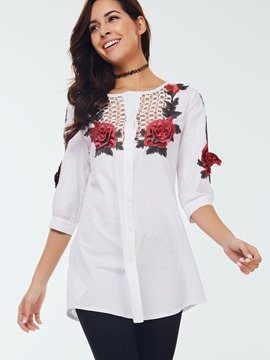 Ericdress Floral Hollow Printed Blouse
