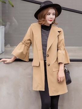 Ericdress Solid Color Trumpet Slim Trench Coat