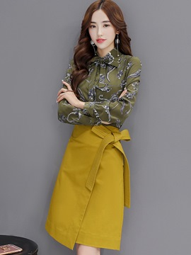 Ericdress Fashion Asymmetric Skirt Suit