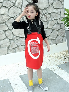 Ericdress Letter Printed Straps Straight Two-Piece Girls Outfit