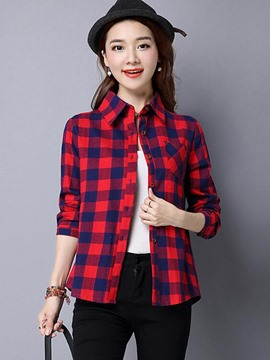 Ericdress Plaid Single -Breasted Causal Blouse