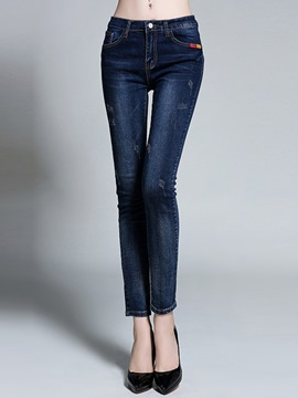 Ericdress Straight Nine Points Jeans
