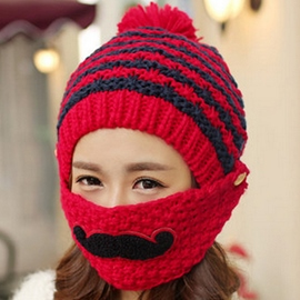 Ericdress Beard Design Knitted Hat with Mask