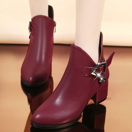 Ericdress Sweet Solid Color Square Heel Ankle Boots