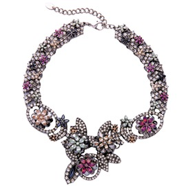 Ericdress Exquisite Diamante Flowers Necklace