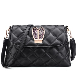 Ericdress Black Quilted Lining Crossbody Bag
