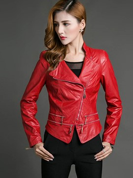 Ericdress Slim Solid Color Asymmetric Zipper Jacket