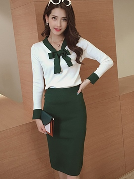 Ericdress Fashion Bowknot Knitwear Suit