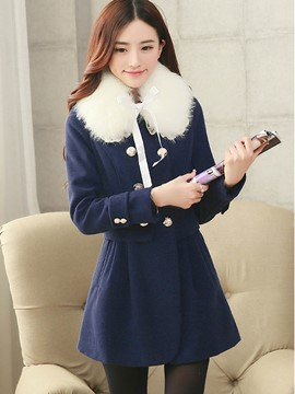 Ericdress Slim Pleated Sweet Coat