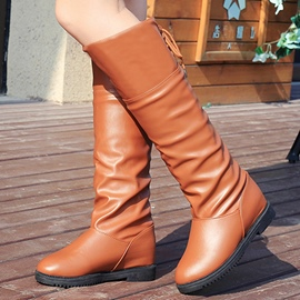 Ericdress Simple Flat Lace-Up Knee High Boots