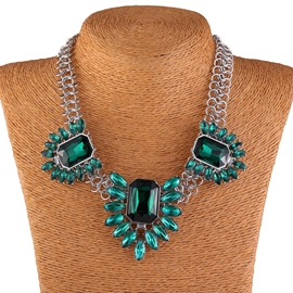 Ericdress Geometric Gemstones Short Necklace