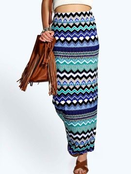 Ericdress Unique Geometric Pattern Maxi Skirt