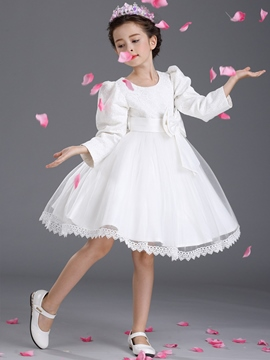 Ericdress Leg-of-Mutton Jacquard Bow Patch Lace-Trim Girls Dress