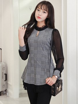 Ericdress Color Block Plaid Patchwork Blouse