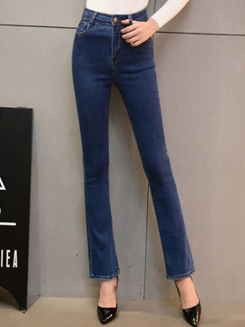 Ericdress Solid Color Slim Flared Jeans