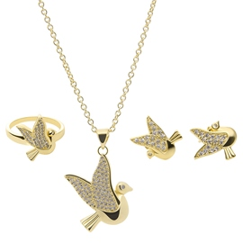 Ericdress Golden Birds Diamante Jewelry Set
