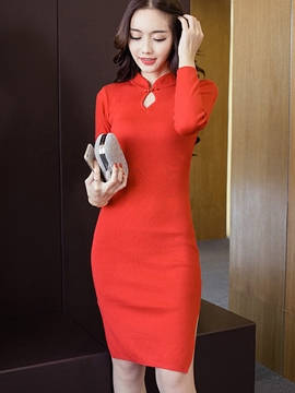 Ericdress Split Knitting Bodycon Sweater Dress