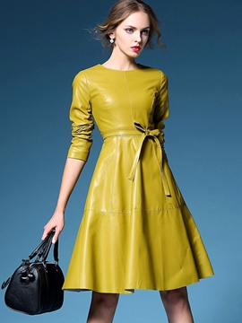 Ericdress Solid Color Lace-Up PU lässige Kleidung