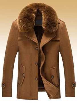 Ericdress Vogue Fur Collar Slim Men's Woolen Coat