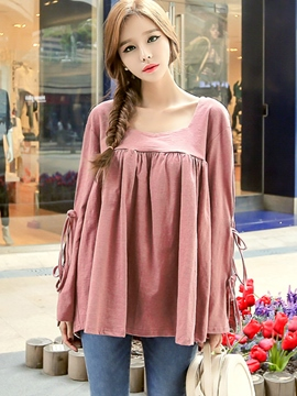 Ericdress Loose Solid Color Pleated T-Shirt