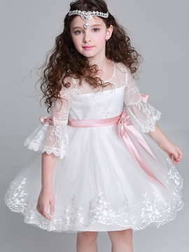 Ericdress Lace Flare Sleeve Princess Flower Girls Dress