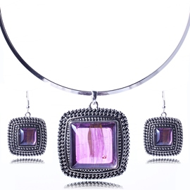 Ericdress Square Gemstones Inlaid Jewelry Set