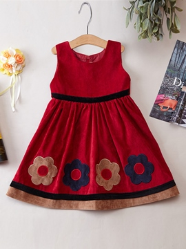 Ericdress Appliques Plain Sleeveless Girls Dress