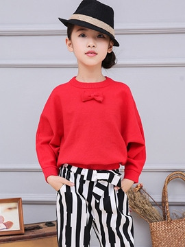 Ericdress Batwing Sleeve Bow Cowl-Neck Girls Top