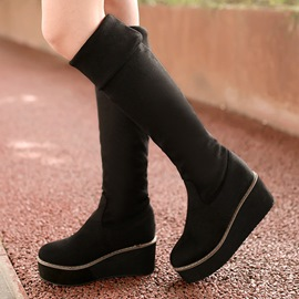 Ericdress Fashion Round Toe Suede Platform Knee High Boots