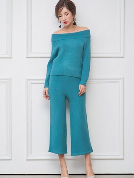 Ericdress Solid Color Sweet Knitwear Suit
