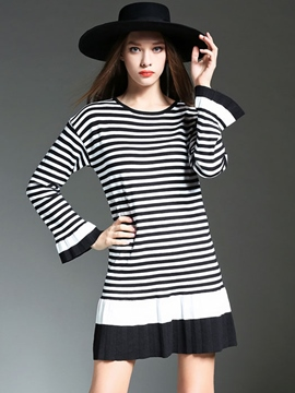 Ericdress Stripe Patchwork Flare Sleeve Casual Dress