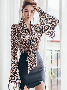 Ericdress Fashion Leopard Blouse Suit